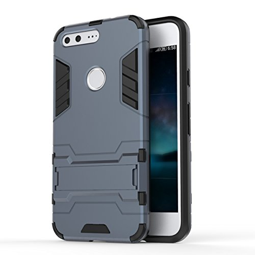 Google Pixel Case, 2 in 1 neue Rüstung Tough Style Hybrid Dual Layer Rüstung Defender PC Hartschalen mit Standplatz Shockproof Case ​​Für Google Pixel 5,2 Zoll ( Color : 2 , Size : Google Pixel 5.2 In 6