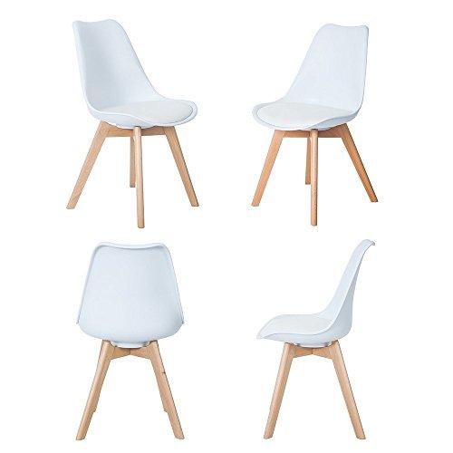 Weiß Holz (4er Set Esszimmerstühle mit Massivholz Buche Bein, Retro Design Gepolsterter Stuhl Küchenstuhl Holz, Weiß)