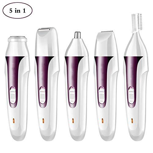 Nasenhaarschneider 5 in 1 wiederaufladbarer Nasen Haarschneider Multi-Funktion Haartrimmer Set Nasehaar/Ohrhaar/Bart/Koteletten/Augenbrauen Trimmer,Purple