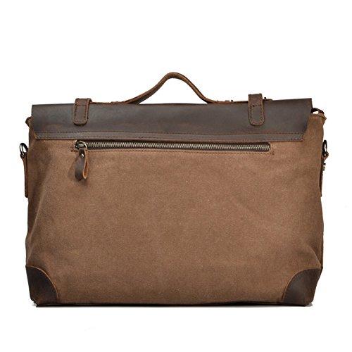 Outdoor Peak Herren retro Leinwand echtes Leder Tasche Damen Arbeit Reise Aktenkoffer-Laptop Satchel Schultertasche Messenger tasche für 14 Zoll Laptop (Braun) Braun