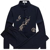 Uniforme de kung fu, artes marciales, con patrón de dragón, por ZooBoo, hombre, azul marino