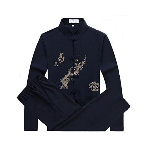 ZooBoo Herren China-Tang Anzug Uniform - Traditionelle Chinesische Tangzhuang Kleidung Kampfkunst Kung Fu Tai Chi Langärmelige Jacke Hose Drachen Muster Handmade Verschlüsse Uniform - Synthetische Seide (Seide Chinesisches Kung Fu Kleidung)