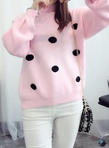 Azbro women's High Neck Puff Sleeve Dots Print Knit Sweater pink