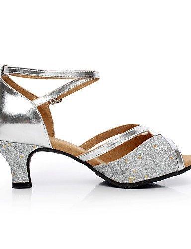 ShangYi Chaussures de danse ( Argent / Or ) - Non Personnalisables - Talon Cubain - Satin / Flocage - Latine / Salsa Silver