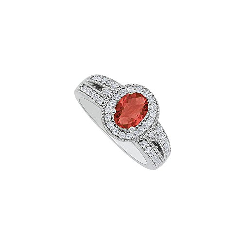 1.00 Carat Oval Ruby CZ Halo Engagement Ring in Silver