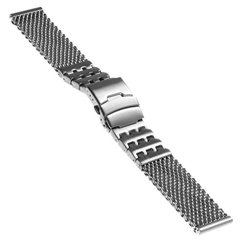 Strapsco Shark en maille en acier inoxydable Bracelet de montre W/motif Block contrasté