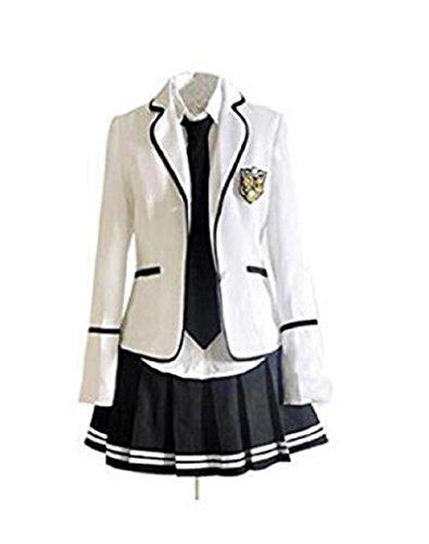 Evalent Japanischen Anime Kleidung Klassische Navy Matrosenanzug Herbst Langarm Mädchen Schüler Schuluniformen Kostüm JK Cosplay (Weißer Mantel) (Für Cosplay Anfänger)