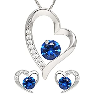 KianaLice Blue Heart Schmuckset aus 925 Sterling Silber mit Blau Zirkonia Stein bestehend aus Herz Anhänger, Ohrstecker und 45 cm Damen Halskette im Etui