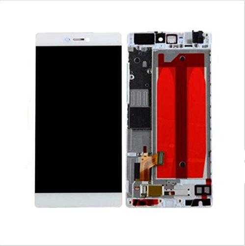 Huawei P8 Display im Komplettset LCD Ersatz Für Touchscreen Glas Reparatur (Weiß + Rahmen) -