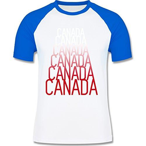 Länder - Canada Fan Shirt - zweifarbiges Baseballshirt für Männer Weiß/Royalblau