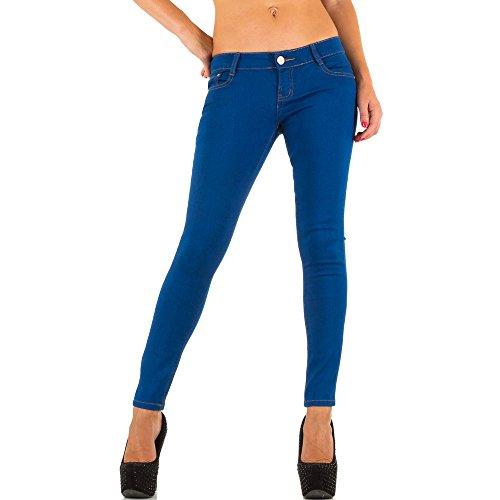 Jeans Hose Damen Stretch Hüfthose Skinny Blau Blau