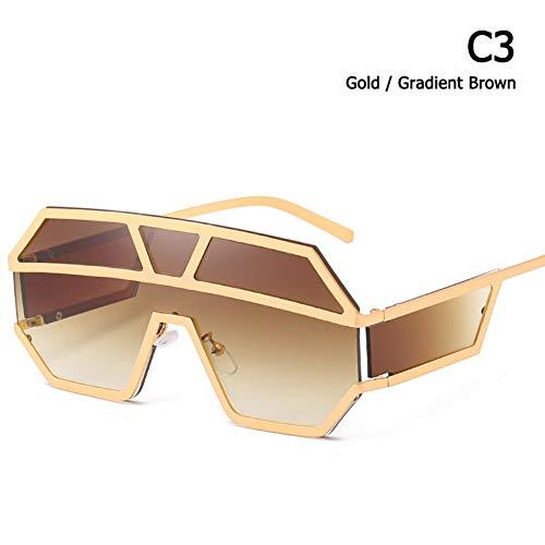 CCGSDJ Mode Moderne Zukunft Stil Metall Schild Sonnenbrille Männer Coole Seitenlinse Marke Design Sonnenbrille Oculos De Sol