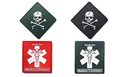 Xinermei Patches Klett Deutschland Militär Aufkleber Abzeichen PVC Klettbänder für Rucksäcke 4 pcs