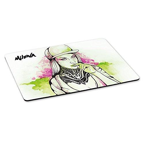 Gaming-Mousepad mit Namen Milena und schönem Sketchbook-Motiv für Mädchen - Gamer-Mousepad | Mausmatte | Mauspad
