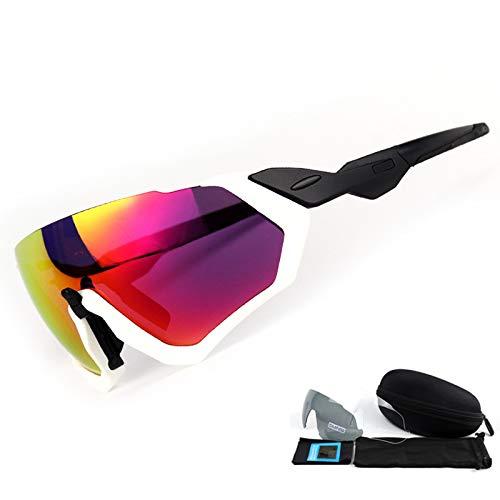 Strand Weiße Spiegel (Mjia sunglasses Sportbrillen,Polarisierte Sonnenbrille im Freiensport-windundurchlässiger Spiegel,UV400 Schutz-Fischen-Strand, weißer Rahmen)