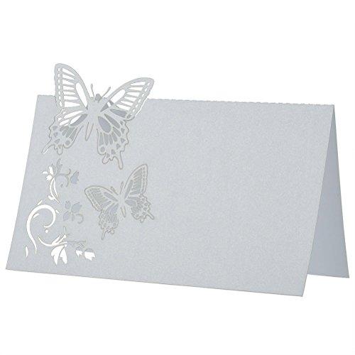 ROSENICE 50 Stück Tischkarten Schmetterlings Blume Hochzeit Dekoration Tischdekoration Namenskarten Platzkarten