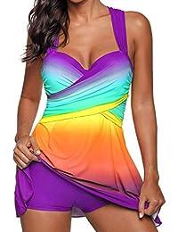 SHOBDW Damen Regenbogen Farbe Swimdress Badeanzug Beachwear Gepolsterte Bademode  Plus Size Bikini Elegant Schick Badeanzüge… 9adbb4a8f2