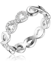 JewelryPalace Magnifique Bague de Fiançailles Femme Infini Aillance Mariage Anniversaire en Argent Sterling 925 en Zircon Cubique de Synthèse