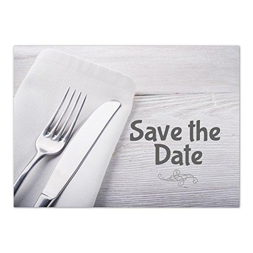 15 x Save the Date Karten mit Umschlag/Besteck neutral Grau/Abendessen / Essen/Dinner / Hochzeit/Party / Einladung/Verkündung (Abendessen Hochzeit Ideen)