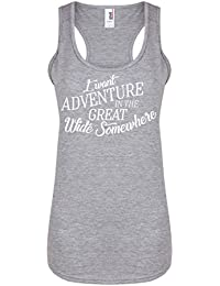 I Want Adventure In The Great Wide Somewhere - Light Grey - Women's Racerback Vest - Fun Slogan Tank Top (Small - UK Size 8-10, w/White)