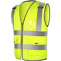 WINOMO Gilet réfléchissant haute visibilité gilet de sécurité haute visibilité avec fermeture à glissière réfléchissante à rayures