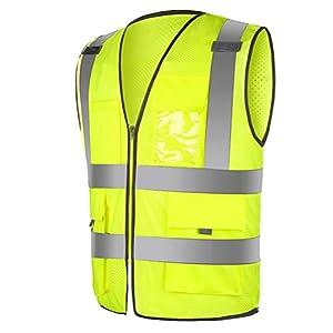 WINOMO ad alta visibilità Gilet ad alta visibilità Gilet riflettente visiera con strisce riflettenti Zip
