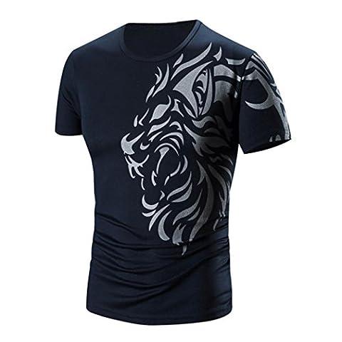 Rcool Herren Sommer O-Neck Bedrucktes kurzärmeliges Baumwoll-T-Shirt (XXXXL, Marine)