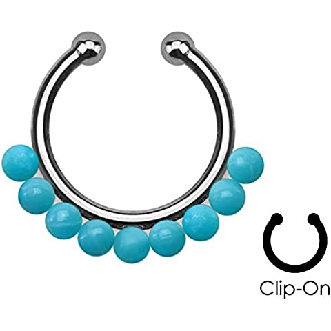 Perle, colore: Turchese, Non-Piercing, finti setto Clip & Pierced Modified Body Jewellery