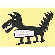 Freche romantische Klappkarte mit Wolf: Willst Du mein Lämmchen sein - schön als Valentinskarte • auch zum direkt Versenden mit ihrem persönlichen Text als Einleger.