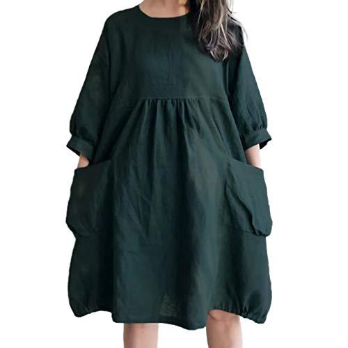 Hals-kaftan (Damen lose Kleider Mode Baumwolle Leinen Kleid Freizeit Kleid Langarm Runde Hals Kaftan Baggy Casual Tunika Bluse Kleid Grün 5XL)