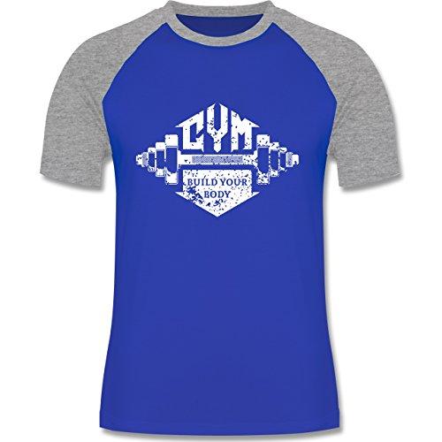CrossFit & Workout - Gym Build your Body - zweifarbiges Baseballshirt für  Männer Royalblau/Grau