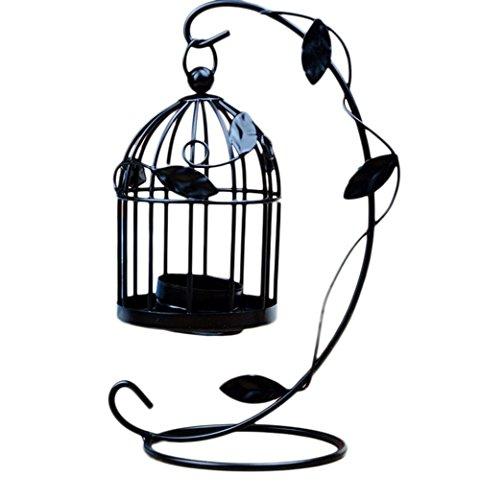 Cdet Hojas Jaula de pájaros candelabro Muebles para el hogar Regalo Creativo Retro candelabro Negro