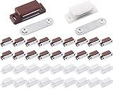 Liuer 40PCS Placard Loquet de Porte Magnétique Ultra-Mince Durable Puissant Kit Aimant Loquet pour Les Portes D'armoires Les Tiroirs Les Meubles Cabinet Armoire(Fermoir Blanc et Marron)