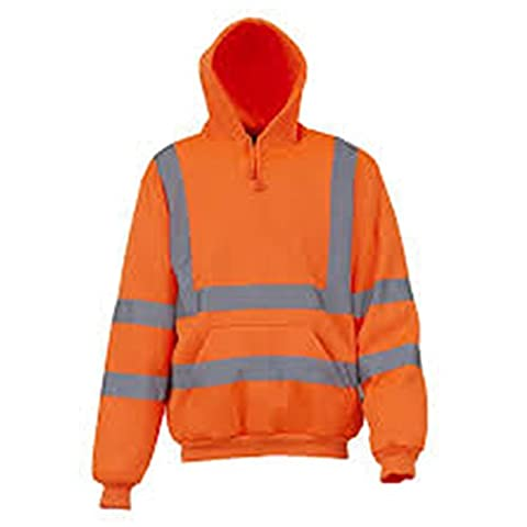 YOKO Men's Hi-vis Pull-over Hoodie (HVK05) Knitted Ribbed Cuffs and