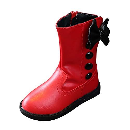 Yearnly Kinderschuhe Prinzessin Bogen Schuhe Mode Stiefel Winter Warme Schneestiefel mit Plus Samt Innenfutter Winterstiefel Stiefeletten Mädchen Schneeschuhe Mädchen Stiefel Größe 26-36 (Prinzessin Bogen Winter)