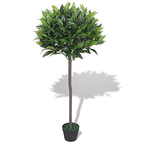 Festnight Kunstpflanze Kunstbaum Künstlicher Lorbeerbaum mit Topf 125 cm Grün