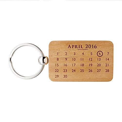 Gravado rechteckiger Schlüsselanhänger aus Holz mit Kalendermotiv -
