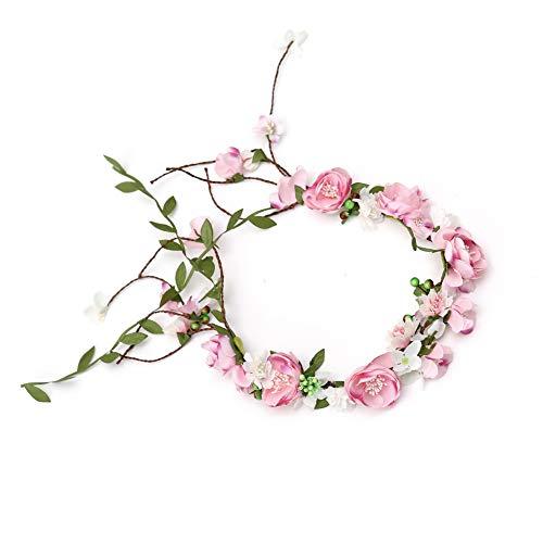 Winslet Blumenkrone, Stirnband mit verstellbarem Band für Frauen oder Mädchen als Haarschmuck (Pink) - Verstellbar Band