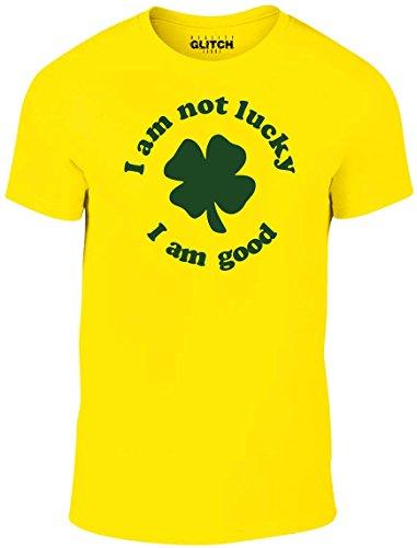 Reality Glitch Herren I am Not Lucky I am Good T-Shirt (Gelb, X-Large) (T-shirt Gelben Branchen)