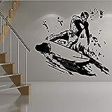 Etiqueta de la Pared Surfista Surfboard Deporte Etiqueta de la Pared Calcomanías de Vinilo Kids Nursery Room Surfing Wall Art Mural Decoración del hogar Etiqueta de la decoración para los niños