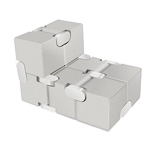 LilBit Fidget Hand Finger Infinity Cube Giochi Giocattolo, Lega di Alluminio, Stress Relief Toys per Anxiety Autism ADD ADHD EDC Bambini / Adulto Argento - 3