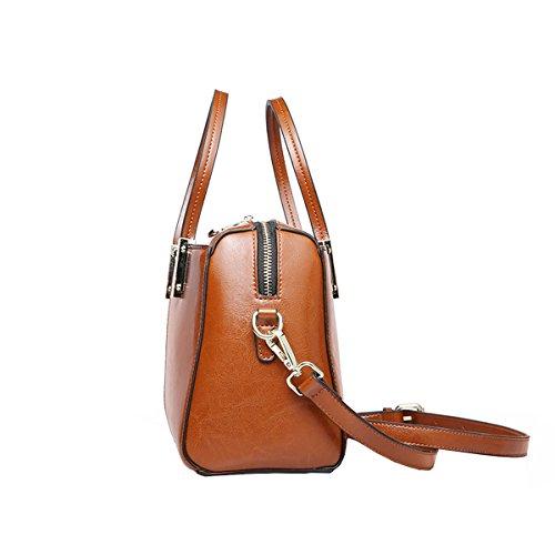 Handtaschen Leder Tote Taschen DISSA EQ0864 Braun Schultertaschen Damen Satchel wvnBgq