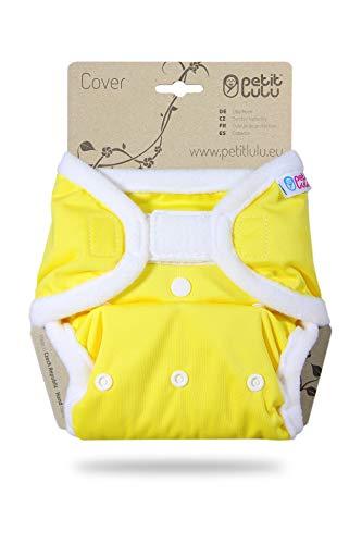 Petit Lulu Größe 2 PUL Überhose (4-15 kg) | Klett | One Size Windelüberhose | Baby Regenbogen Windelhose | Waschbar & Wasserdicht | Stoffwindeln | Hergestellt in EU (Gelb)
