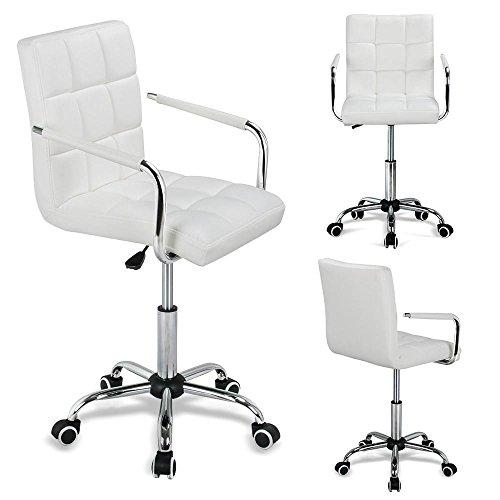 Yahee sedia bianca ufficio con ruote girevole imbottita ergonomica con rivestimento in ecopelle altezza regolabile (bianco)