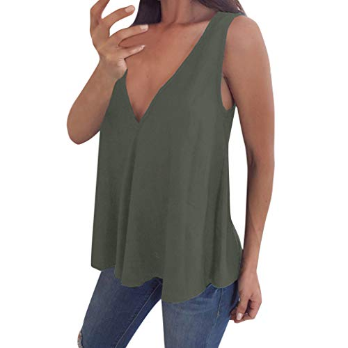 2019 V-Ausschnitt Tank Top Ärmelloses T-Shirt Sommer Weste, Chic WUDUBE Classic Solid Color Bluse Plus Größe S-5XL
