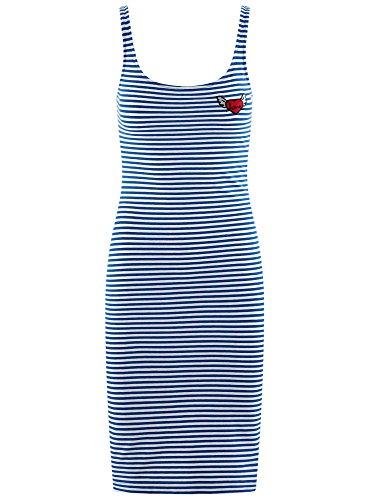 oodji Ultra Damen Trägerkleid mit Stickerei Blau (7512S)