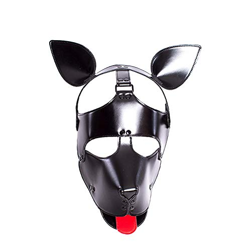 Hundemaske, weiches Kunstleder, mit Ohren und Zunge schwarz