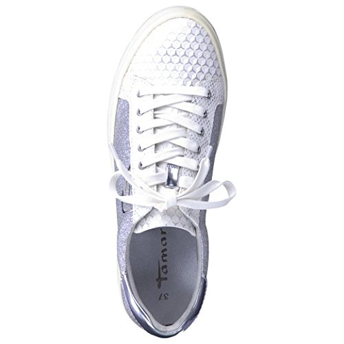 Tamaris  1-1-23604-28/923, Chaussures à lacets et coupe classique femme WHT/SILVER GL.