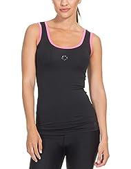 Gregster Damen Kompressions Top in schwarz| Sport Shirt zum Laufen, Fitness und Zumba geeignet | Tanktop ist dehnbar und atmungsaktiv