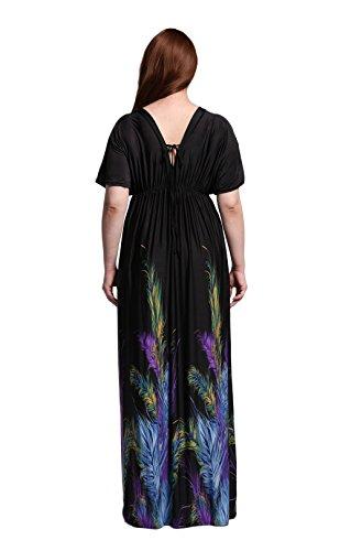 JOTHIN 2017 Nouvelle Femmes Robe V-Cou Taille Haute à Manches Chauve-souris Dos-nu Imprimé Taille Grands Mince des Robe de Longue Section Plage Robe Noir